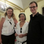 Mary Rowell with composers Eve Beglarian and Colin Holter