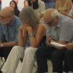 James Rosenfield, Joan La Barbara, Morton Subotnick listening intently
